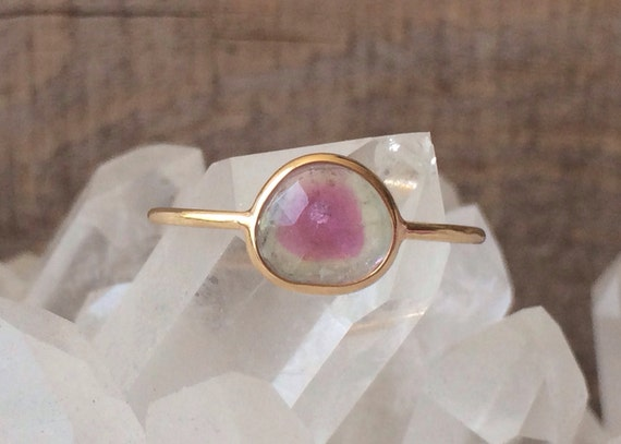 Pastel watermelon tourmaline and solid gold ring