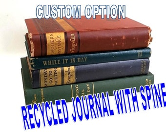 Looks Like a Real Book Journal with Spine ~ Add-on ~ Custom Options ~ Upcycled Old Book ~  Personalized Notebook ~ Wedding Guestbook Diary