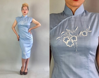 Vintage 1950s Dress | 50s Baby Blue Cotton Cap Sleeve Traditional Chinese Cheongsam QiPao w/Floral Blue & White Embroidery | Medium