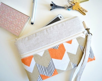 iPhone Wristlet, iPhone Bag, iPhone Case, iPhone Wallet, iPhone Sleeve with Strap - Orange Arrows