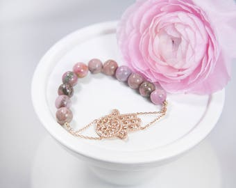 Rose Gold Pave Hamsa Bracelet with Round Rhodonite Beads, Hand of Fatima bracelet, Good Luck Jewelry