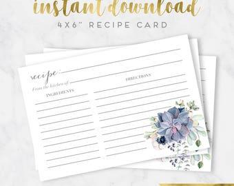 Watercolor Boho Succulent Bridal Shower Recipe Card Insert