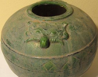 Vintage Green Round jar with Fox Head