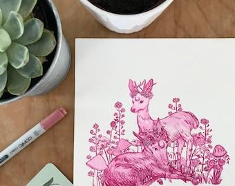 Spring Babies - Original Ink Painting