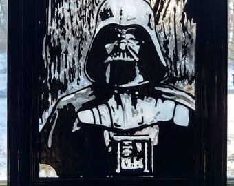 Darth Vader~ Star Wars, Sith, art, suncatcher, stained glass, abstract, reclaimed, Anakin Skywalker, up cycled, Jedi, dark side, frames, sun