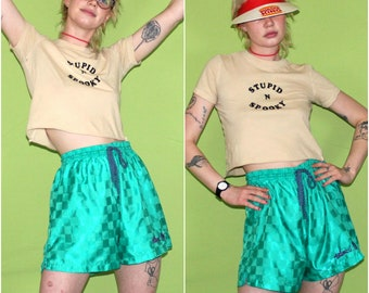 90s Retro Soccer Short. Short Neon Green Large Draw String Shorts. Lightweight Nylon Athletic Shorts. Retro 80s or 90s Unisex Soccer Shorts