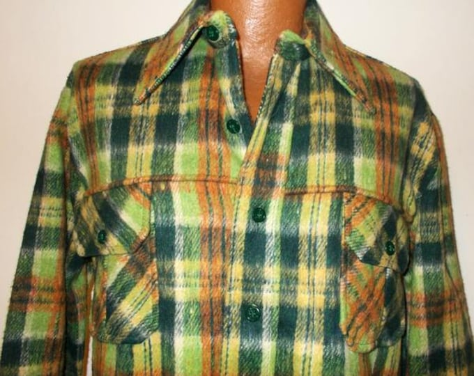 Vintage 70s Lord James Flannel Camping Fishing Hunting Lumberjack Green Orange Plaid Mens Long Sleeve Button Up Jacket Shirt