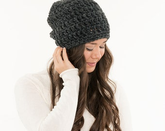 Chunky Knit Super Slouchy Hat Wool Beanie, Ribbed Knitted Slouch Toque, Textured Women Warm Crocheted Handmade Winter Accessory
