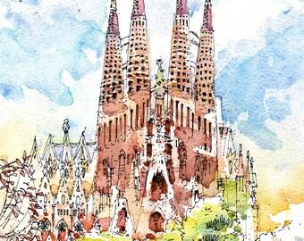 Sagrada Familia, Barcelona PRINT / Antoni Gaudí. Eixample, Barcelona / REF 002