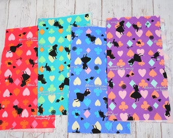 Alice in Wonderland print fabric Scrap set of  4 pieces 9.6 inches square each piece SC05