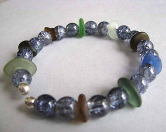 Sea Glass Memory Wire Assorted Colors Bracelet - Assorted Colors Blue Beads - Prince Edward Island Pure Sea Glass - Ocean Jewelry Gifts