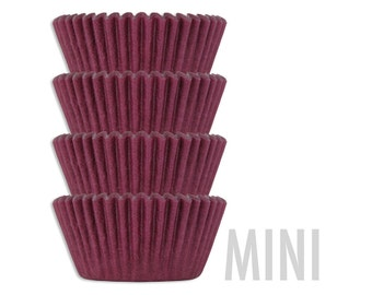 Mini Solid Burgundy Baking Cups - 50 red wine mini paper cupcake liners