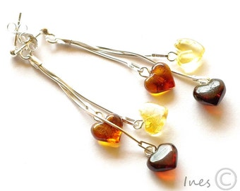 Baltic Amber Dangle Earrings,Heart Earrings