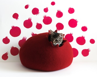 Cat house Pomegranate red felted cat bed cave pet furniture handmade gift for pet lovers eco friendly natural wool animal puppy bed