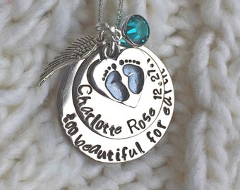 Personalized Baby Memorial Necklace, too beautiful for earth, baby memorial, memorial necklace, loss of baby, natashaaloha, sympathy gift