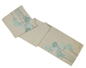 Flower Linen Table Runner, Natural Linen Blue Flowers Embroidery, Wedding Table Runner, Turquoise Table Linen, Table top, Housewarming gift