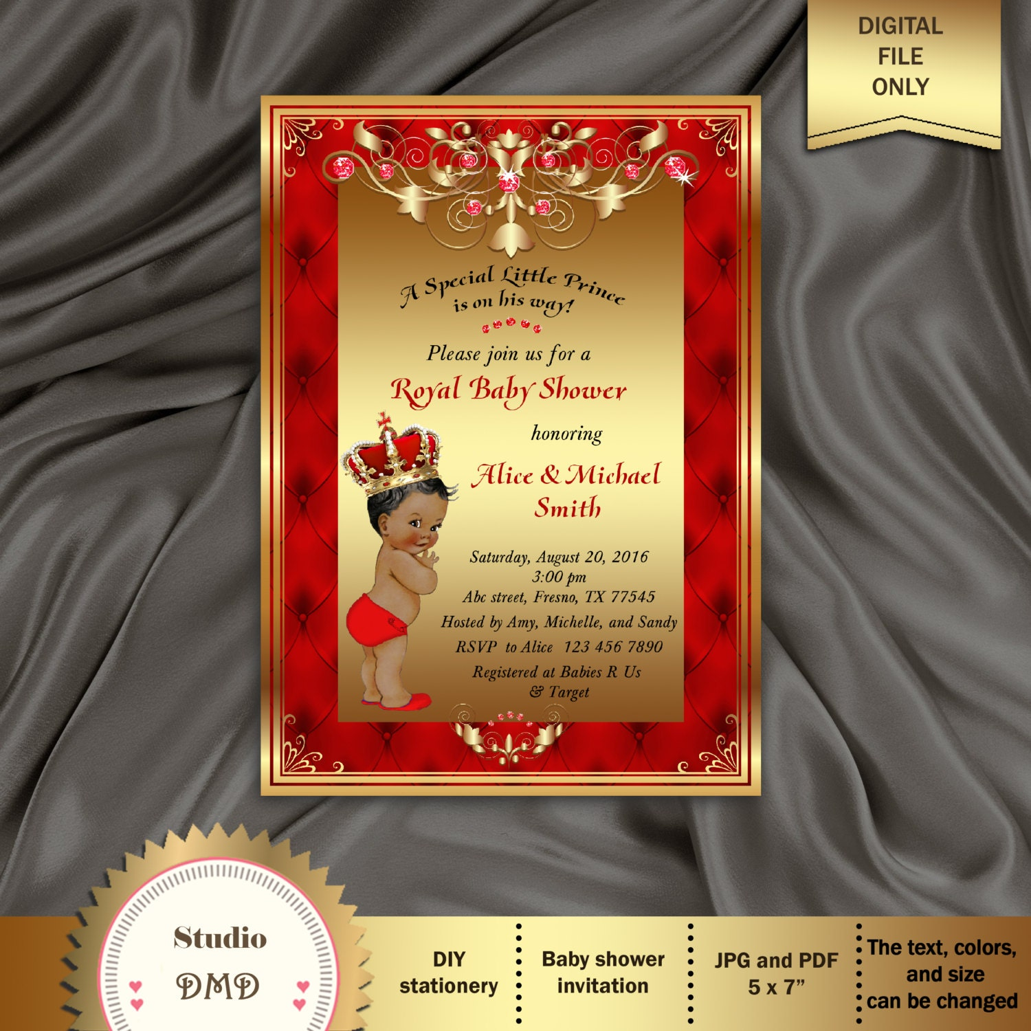 Printable Royal Baby Shower Invitation Regal Red Gold Card