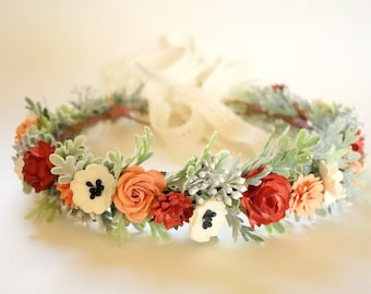Fall Flower Crown, Fall Wedding, Coral Flower Crown, Bridal Flower Crown, Rustic Wedding, Head Wreath, Bridal Headpiece SERENDIPITY-FALL
