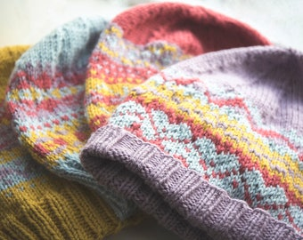 Four Fair Isle Hats. (All four patterns included). Knitting patterns.
