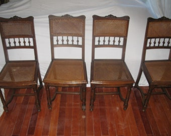 Make Offer: French Cane Chairs, Antique Henri III, 6 Dining Chairs, Dining Side  Chairs