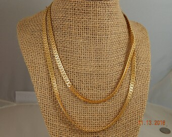 Long Wide Gold Necklace