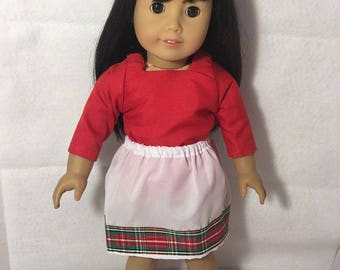 """Handmade Doll Top and Skirt Fits 18"""" Like American Girl DOll Clothes, Our Generation Doll, My Life As Doll"""