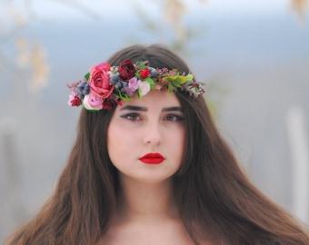 Ready to ship Burgundy berries floral crown Boho wedding Bridal headpiece Wedding flower crown Girl flower crown Floral crown bride crown