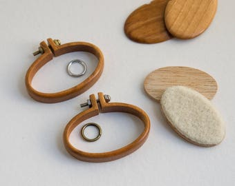 Kit NO laser Mini hoops embroidery frames - Premium hardwood: Maple, Cherry or Walnut - (MH4025-X) - 40 x 25 mm