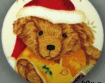Fabric - Christmas bear button - Christmas Teddy Bear - 40mm - (40-14)