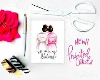 NEW-PRINTED Bridesmaid card-Will you be my Bridesmaid? Card, Dark Brunette Bride, Dark Brunette Bridesmaid, Bridesmaid Proposal