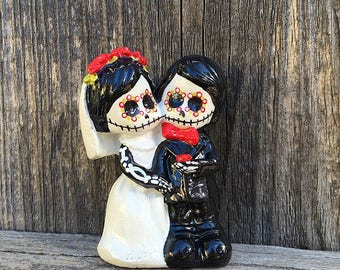 Wedding Cake Topper Day of the Dead Skeleton Couple