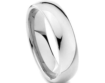 Stainless Steel Wedding Ring, Silver Wedding Band, Men's Ring, Women's Ring, 6mm Stainless Steel Ring, Sizes 7-15 w/ half sizes!