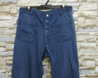 Vintage 60's Navy Denim Jeans Navdungaree Southern Apparel Company Navy Sailor Russell Bell Bottom Jeans Usa W33