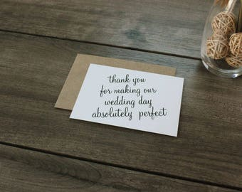 Vendor or Wedding Party Thank You Cards with Envelopes / Chic / Elegant / Classic Stationery Wedding Thank You Notes