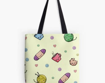 Kawaii Yarn Tote, Kawaii Cookie, Cute Yarn, Chibi Yarn, Chibi Teacup, Yarn Bag, Project Bag, Yarn Tote, Crochet Tote, Knitting Bag