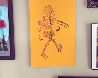 Dancing Skeleton - Screenprint - Black/orange on amber