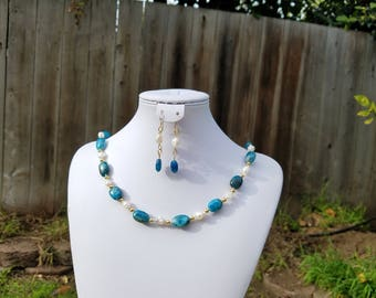 Apatite and Baroque Fresh Water Pearls