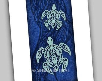 Blue Tribal Turtles Hawaiian Polynesian Tattoo Style, Art Print, Sale