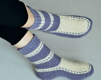 Extra warm and soft slipper socks women wool alpaca blend lavender knitted slippers winter knit socks handknit wool slippers knited slippers