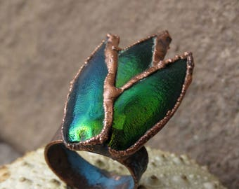 Jewel beetle wing ring | Insect wing ring | Sternocera ring | Elytra electroformed ring | Insect elytra copper ring | Sternocera wing ring