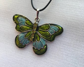 Large Butterfly Pendant with necklace,choose color.
