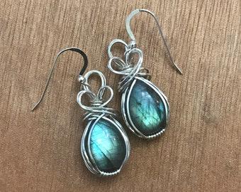Ice Blue Labradorite Drop Earrings