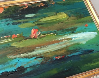 Teal & Green Lilypond Painting-  Marsh Landscape- Abstract Painting -Original - Framed Art - 9 x 12  including frame- Ready to Hang