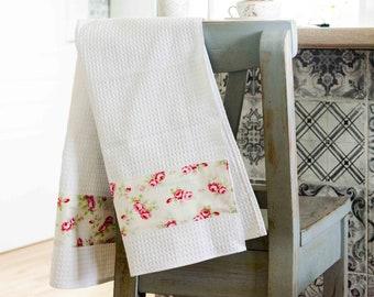 SET of 2 Handmade towel / Waffle towel / Tea towel / Roses kitchen towel / Shabby Chic towel / Cotton Waffle Kitchen Tea towel / White towel