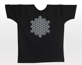 Flower of Life T-shirt | S M L XL XXL | light reflective silver print | night glow | festival clothing