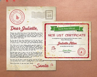 Personalized Christmas Letter From Santa Claus and Nice List Certificate Printable, North Pole Letter, Personalized Nice List Certificate