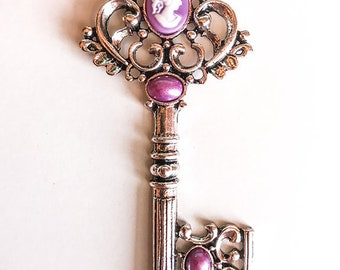 Silver and Purple Art Nouveau Inspired Skeleton Key Pendant Necklace