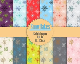 "12 Snowflake Digital Papers 12"" Instant Download, Winter Digital Papers, Snowflake Pattern, High Resolution 300 dpi"