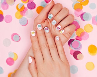 Cat Party Waterslide Nail Decals: kawaii rainbow cat lady nail art transfer for children, her or animal lovers!