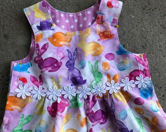 Girls Summer Bunny Romper - Easter Romper, Girls Romper, Cute Rompers, Cotton Rompers, Easter Bunny